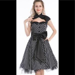 50's style pinup Rockabilly polkadot dress 14